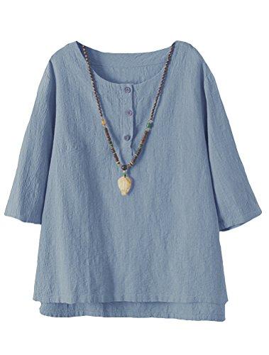 Vogstyle  Damen Neue Baumwoll Leinen Tunika T-Shirt Jacquard Oberseiten, XL, Blau