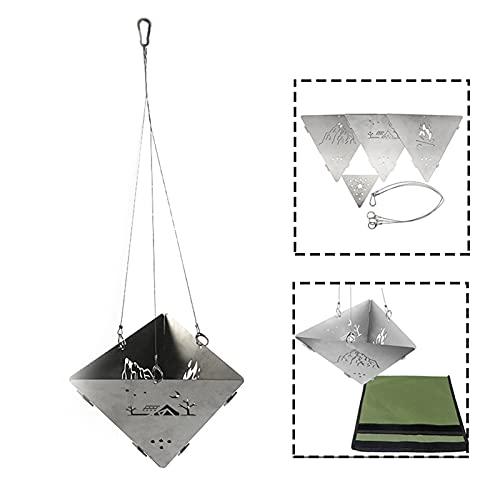 Réchaud de camping portable en acier inoxydable avec forme géométrique, durable, léger, facile à utiliser, pratique pour randonnée, voyage, pique-nique, barbecue