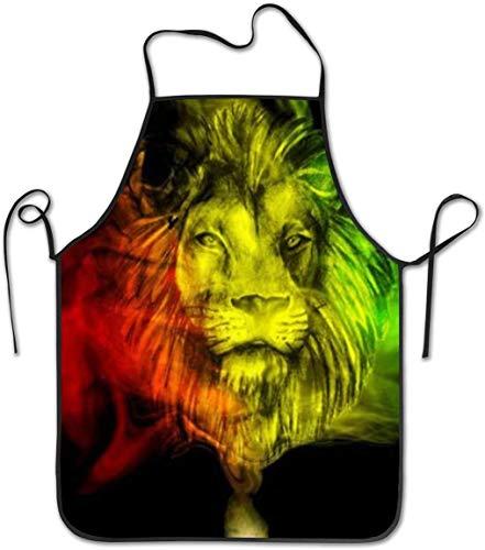 DUTRIX Rasta Lion Waterproof Durable Personalized Apron Cooking Kitchen Apron Bib Apron for Women Men Adults Chef