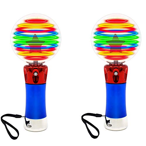 2 luminous rotating LED magic wand toys-color-changing starry sky globe-including battery and strap-a magical princess sensory toy for children with autism the best birthday gift for children 3 4 5 67