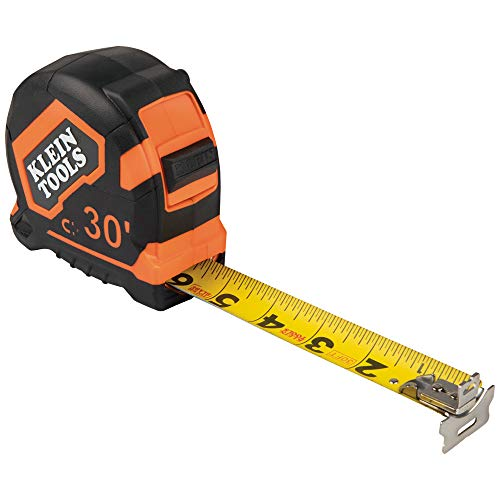 Klein Tools 9230 Tape Measure, 30-Foot Double-Hook Double-Sided Measuring Tape, Magnetic with Retraction Speed Break and Metal Belt Clip