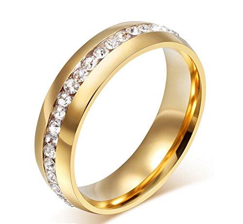 AmDxD Schmuck 18K Vergoldet Gold Damen Ringe Zirkonia Pave Elegante Polished Hochzeit Ehering Größe 54 (17.2)