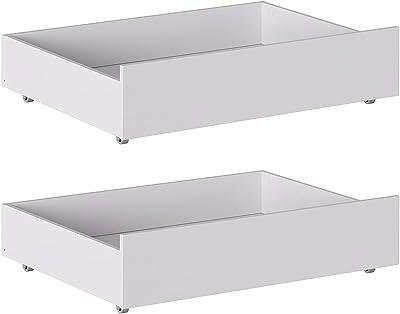 Iconico Home MIK Lot de 2 tiroirs de Rangement sous Le lit, Bois Composite, Blanc Mat, 100,5x68x21 cm