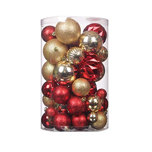 Wyness Christmas Tree Hanging Balls for Xmas Tree,Decoration Roping Baubles Set Christmas Package hatterproof Christmas Ball Ornaments Decoration 50PCS (Red & Gold)