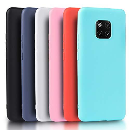 Wanxideng - 6X Cover Huawei Mate 20 PRO [Set di 6 Pezzi], Custodia Morbido Opaco in Silicone TPU - Matt Silicone Case [ Nero + Rosso + Blu Scuro + Rosa + Verde Menta + Traslucido ]