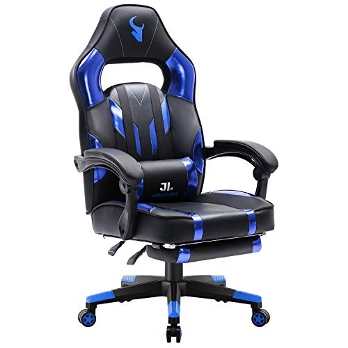 JL Comfurni Gaming Chair Home Office Desk Chair Swivel with Footrest Ergonomic Recliner Computer Chair High Back Faux Leather Chair with Lumbar Cushion Blue