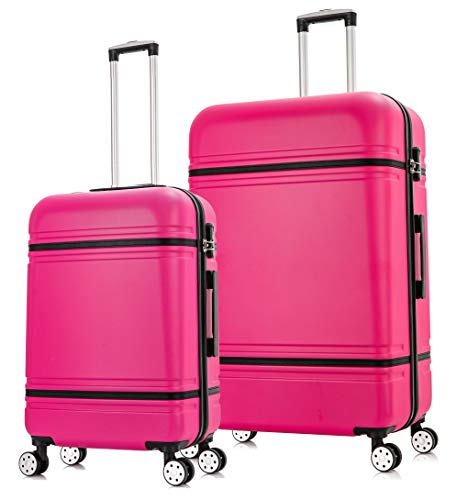 Starlite Luggage ABS147 Set of 2 Large and Cabin Hard Shell Suitcase 4 Wheel Spinner Pink