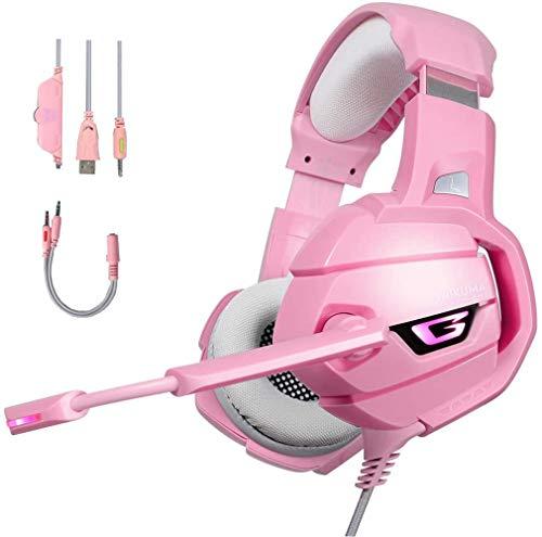 Auriculares para juegos con iluminación LED, diadema de 3,5 mm estéreo envolvente con micrófono para teléfonos inteligentes, PC, PS4 y otros dispositivos de juego, puede...