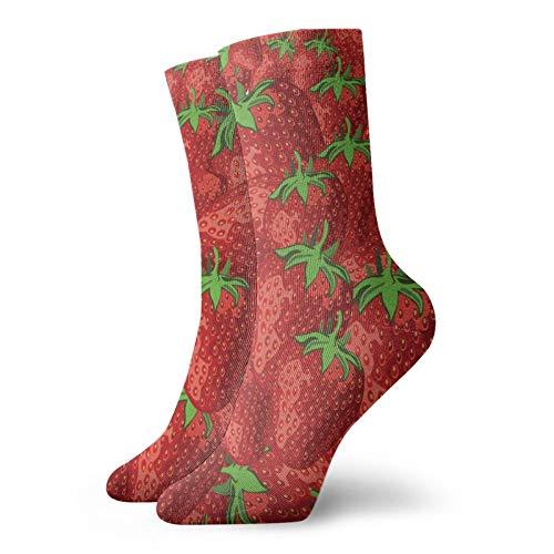 Calcetines deportivos de frutas de fresas, calcetines casuales para hombre y mujer