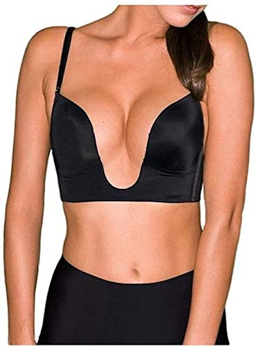 Fullness Sexy V Shape Push Up Deep Plunge Convertible V Bra Max Cleavage Booster Shaper (34B, Black)
