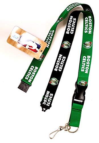Celtics 2-Tone Design Premium Lanyard 2-Sided Breakaway Clip Keychain Basketball