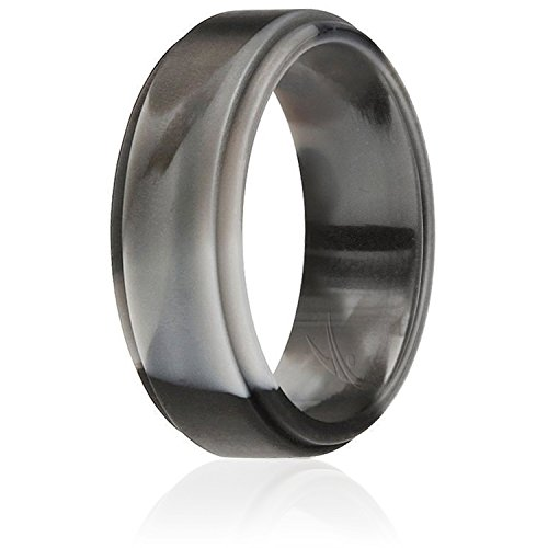 ROQ Silicone Wedding Ring for Men by, Singles Silicone Rubber Band Step Edge - Black Camo - Size 16