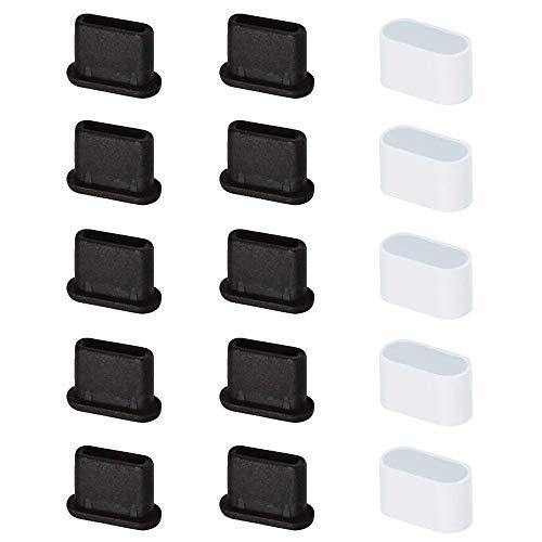 VSuRing USB3.1 Type-C コネクタカバー キャップ シリコン製 メス用 10個 オス用 5個 防塵 ケーブル先端用キャップ 端子保護キャップ 防湿 防錆 黒 白 15個セット (ホワイト・ブラック)