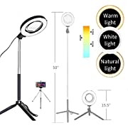 """Dimmable Ring Light with Adjustable Height Light Stand,Selfie Stick and USB Plug,6"""" 3200K~5500K Beauty Table Top Lamp with Makeup Mirror,Mini Tripod and Phone Clamp, Perfect for Vlogs,YouTube Channel"""