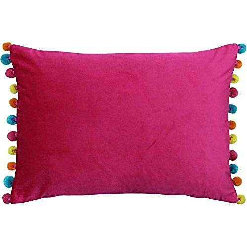 Riva Paoletti Fiesta Rectangular Cushion Cover Multicoloured Pompom Edges-Soft Velvet Fabric-Reversible-Zip Closure-100% Polyester-35 x 50cm (14' x 20' inches), Polyester, Hot Pink/Multi, 35 x 50cm