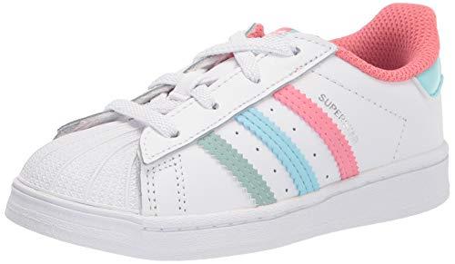 adidas Originals Kids Superstar Shoes Sneaker, White/Hazy Rose/Hazy Sky, 8 US Unisex Toddler