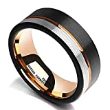 King Will Loop Tungsten Carbide Wedding Band 8mm Rose Gold Line Ring Black and Silver Brushed Comfort Fit10…