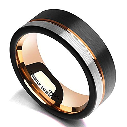 King Will Loop Tungsten Carbide Wedding Band 8mm Rose Gold...