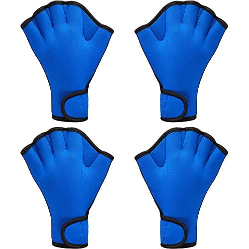 2 Paar Schwimmhandschuhe Aqua Fit Schwimmen Training Handschuhe Neopren Handschuhe Webbed Fitness Wasserresistenz Trainingshandschuhe für Schwimmen Tauchen mit Handgelenkschlaufe (blau, mittel)