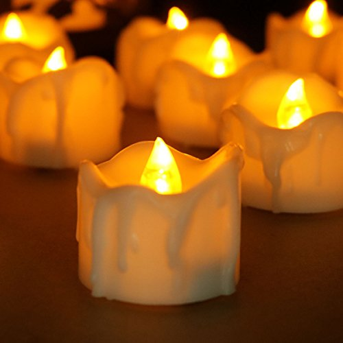 Youngerbaby Set of 12 Amber Yellow Flickering Flameless Candles with Timer LED Tea Light Timing (6Hrs ON 18Hrs OFF), Small Wax Dripped Battery Operated Tealights for Christmas Party Thanksgiving Day