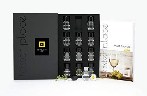 Tasterplace | Aromi Vino Bianco | Italiano | kit sommelier | kit aromi vino bianco | allena l'olfatto | 12 essenze | strumento per degustazione
