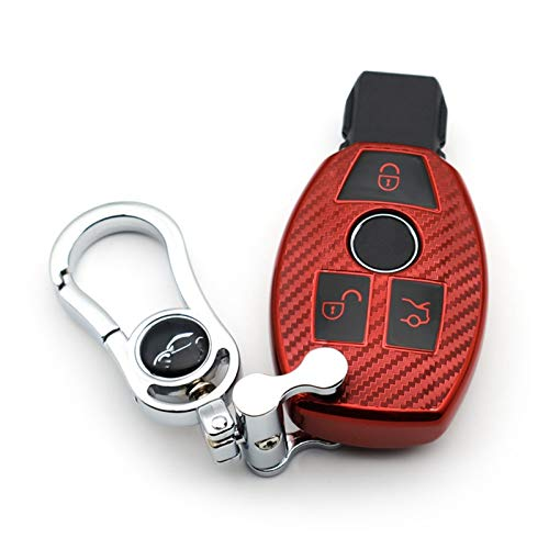 shiyi Caja De Claves De Coche Fob Fob para Benz A B C E S G M V Clase GLK CLA W204 Fibra DE Carbono Suave Cuchilla DE LA Cubierta DE LA Cubierta Levante (Color : Carbon Fiber Red)