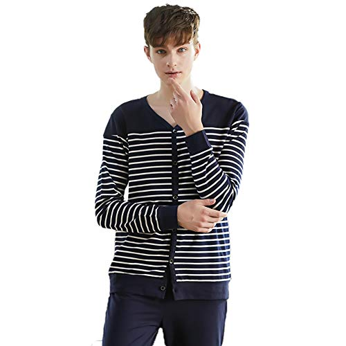 Heren Pajamas Sets/V-Hals Stripes Pajamas Lange Mouwen Vest Homewear Katoen Met Pocket,a,XXXL