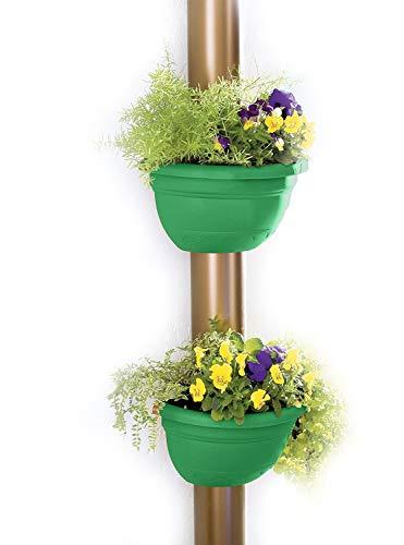 UPP Fallrohr Blumentöpfe | Praktische und einfache Aufwertung von Allen Regenrinnen | Passt bis Ø 14 cm [Grün, 2 Stück]
