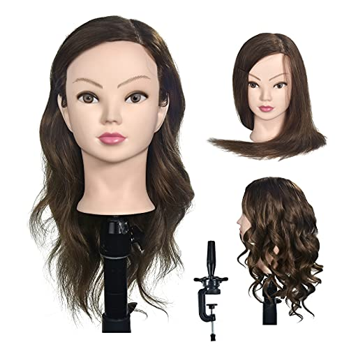 Tête de mannequin femme tête factice, 100% vrais cheveux, 46 cm, avec clip gratuit