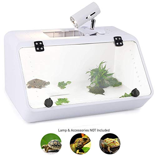 Large Reptile Tank – An Aquarium with a See-Through, Easy Access Front Panel Door | Habitat for Small Reptiles like Young Bearded Dragons, Lizards, Small Snakes and More |19''x10''x10'' with Food Tray