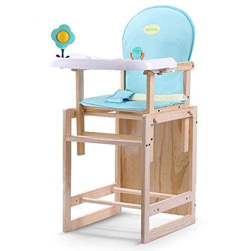 For Sale! Jiu Si- Baby high Chair – Pine, 0-10 Years Old Baby Solid Wood Multi-Function Adjustable Three-in-one Baby Dinner seat Stool – 3 Colors Optional Baby Eating Chair (Color : Light Blue)