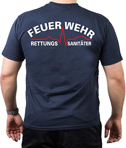 feuer1 T-shirt de pompier Inscription Feuerwehr Rettungssanitäter avec graphique du rythme cardiaque à l'avant et à l'arrière Blanc/rouge Bleu marine bleu marine L