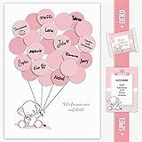 Baby Shower Geschenk, Babyparty Gastgeschenk, Deko, Baby Andenken, Idee, Glückwünsche, Fingerabdruck, Erinnerungsstück, Elefant, mädchen, rosa