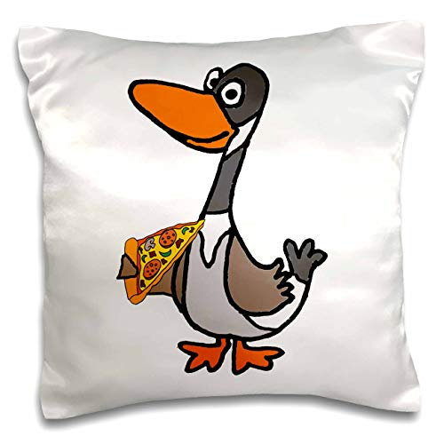 3dRose Funny Cute Colorful Canada Goose Eating Pizza Cartoon - Pillow Cases (pc_326034_1)