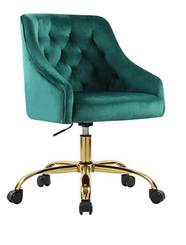 Fiximaster 6030S Computerstuhl/Drehstuhl/Esszimmerstuhl mit Samtbezug und goldenfarbigen Fußkreuz, drehbar, stufenlos höhenverstellbar,Polsterfarbe: Grün elegant und funktional