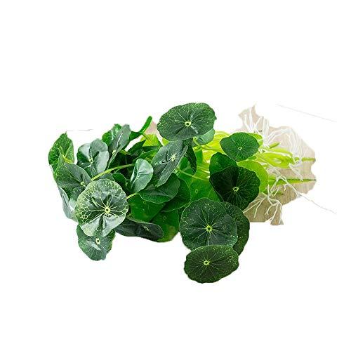 La simulación de la planta de agua de la moneda Hierba de simulación pequeña central de hoja de loto verde pecera Lotus planta hidropónica de la planta verde decoraciones de jardín al aire libre de la