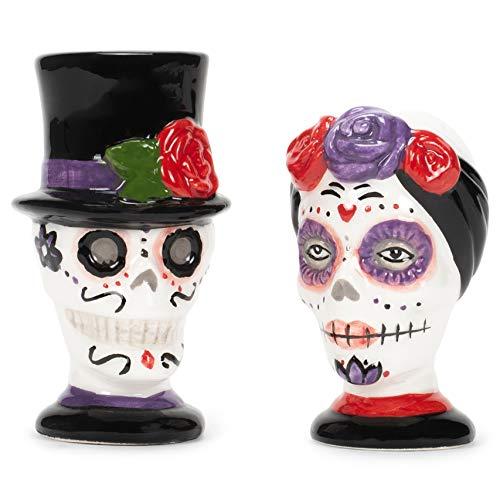 Skull Fancy Day Of The Dead Salt & Pepper Set Halloween Table Decor