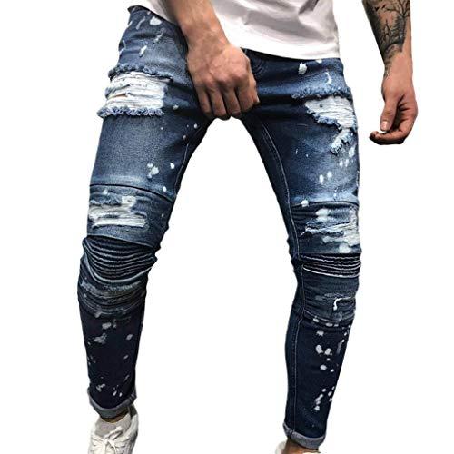 Men Denim Sweatpants Cotton Straight Ripped Hole Trousers Distressed Jeans Autumn Pants