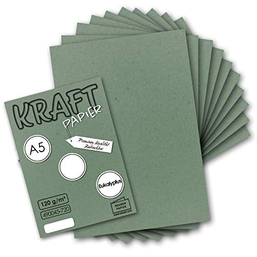 50 Blatt - Vintage Kraftpapier in Eukalyptus-Grün DIN A5 120 g/m² Eukalyptus-grünes Recycling-Papier - 21 x 14,8 cm - 100% ökologisch Brief-Bogen - Briefpapier - NEUSER PAPIER