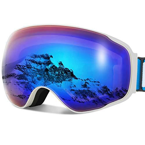 JOJO LEMON Ski Snow Snowboard Goggles for Men Women & Youth Over Glasses 100% UV400 Protection Anti-Fog with Spherical Detachable Lens