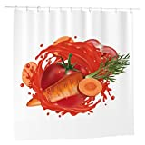 Tomaten-Duschvorhang für Badezimmer, Stoff, 183 x 183 cm, wasserdicht, wiederverwendbar