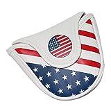 Perfeclan Copri-Testina Magnetica per Putter da Golf Copri-testine per Putter a Stelle E Strisce USA Proteggi Manica - Putter