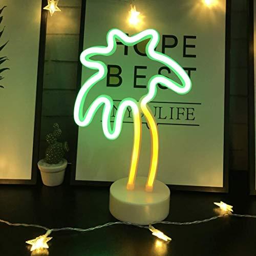 LED- Palme Neonlicht Zeichen Neon Schilder Lampen Blitz Neon Lights warmes Weiß Dekor-Blitz Neonlichter Batterie/USB Powered Nachtlicht für Weihnachten Kinderzimmer Wohnzimmer Hochzeit Dekor