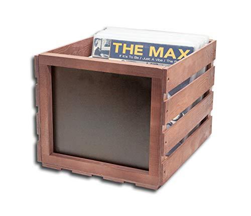 Protected Schallplatten Holz Box mit Kreidetafel dunkel