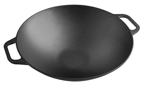 Victoria WOK-314 Smooth Balanced Base Cast Iron Work with Wide Handles, Large/14', Black
