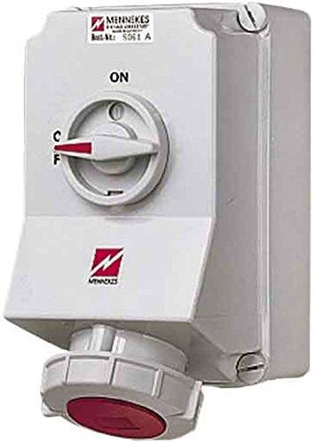 Mennekes (Unternehmen) 101100012Grundlagen CEE mit Schalter und ineinander greifenden, Steckdose, 400V, 50–60Hz, 63A, 5-polig, IP 67, 3Paket, rot