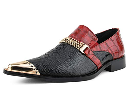Bolano Novi - Men's Slippers - Mens Slip On Shoes - Loafers for Men - Exotic Patent Designer Shoes - Chain Ornament with Matching Metallic Cap Toe - Tuxedo Shoes - Black and Red Size 14