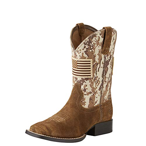Ariat Kids' Patriot Western Cowboy Boot, Antique Mocha Washed Suede, 6 M US