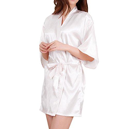 Sidiou Group Vestido Pijama Mujer Kimono Corto Bata de Satén Lencería Kimono del Cordón Satén Seda de Hielo Bata Albornoz Camisón (XL, Estilo 2-Blanco)