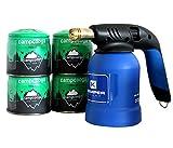 Bunsenbrenner + Gaskartuschen 190g Lötbrenner für Stechkartuschen EN417 Hartlöten Lötlampe (Bunsenbrenner mit 4 Kartuschen)